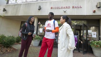 Students enjoying each others' company at Rutgers-Newark